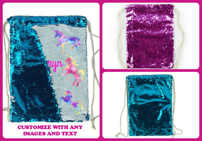 Sequin Drawstring Bag Personalized Backpack Reversible - Blue or Pink - Add a Name/Image/Photo - Sequin Gift - Mermaid Bag - Teen Girl