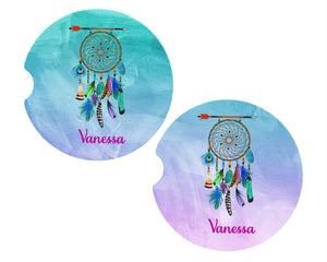 Dream Catcher Personalized Car Coasters, Boho Coaster, Personalized Coasters, Sandstone Car Coasters, Car Accessories, Custom Car, Set of 2