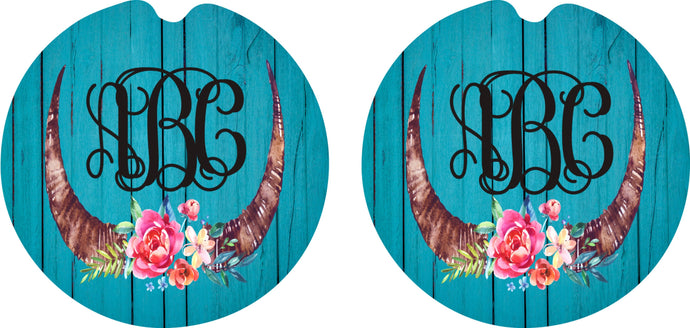 Floral Steer Horn Wooden Personalized Car Coasters, Flower Coaster, Personalized Coasters, Sandstone Car Coasters, Car Accessories, Set of 2