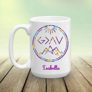 God is Greater than the Highs and Lows Personalized Coffee Mug - You Choose Color - Cup Gift, Christian, Religious Coffee Cup, Faith Mug