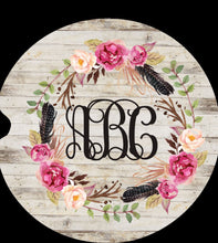Load image into Gallery viewer, Distressed Wooden Floral Monogram Car Coasters, Flower Coaster, Personalized Coasters, Sandstone Car Coasters, Car Accessories, Set of 2