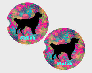 Dog Breed Personalized Car Coasters, Sandstone Car Coasters, 100% Custom, You Choose Breed, Name/Color, Background, Dog Lover Gift, Set of 2