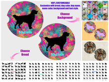 Load image into Gallery viewer, Dog Breed Personalized Car Coasters, Sandstone Car Coasters, 100% Custom, You Choose Breed, Name/Color, Background, Dog Lover Gift, Set of 2