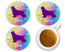 Load image into Gallery viewer, Dog Breed Personalized Coasters, 100% Custom, You Choose Breed, Name/Color, Background, Dog Lover Gift, Mom Gift, Wedding Gift, Set of 4