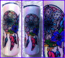 Load image into Gallery viewer, Dream Catcher UV Glitter Tumbler - Boho - Watercolor - Glitter Tumbler - Water Bottle - Color Changing - Insulated - 20 oz - FREE SHIPPING