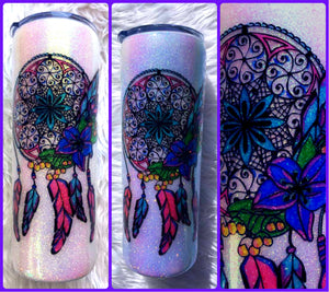 Dream Catcher UV Glitter Tumbler - Boho - Watercolor - Glitter Tumbler - Water Bottle - Color Changing - Insulated - 20 oz - FREE SHIPPING
