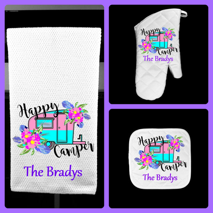 Happy Camper Oven Mitt Pot Holder Towel Gift Set Personalized, Gifts for Mom, Housewarming Gift, Hostess Gift, Wedding, Custom Kitchen Set