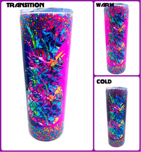 Pineapple Tropical Thermal Glittered Color Changing Thermal Tumbler with Lid - Purple/Pink - Hibiscus Vinyl - Luau - Insulated - 20 oz