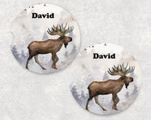 Load image into Gallery viewer, Moose Car Coasters - Personalized - Customized - Gift for Man - Dad Gift - Father's Day Gift - Custom Gift - Auto Accessories - Set of 2