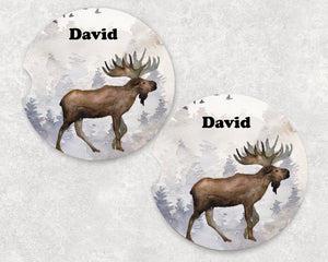 Moose Car Coasters - Personalized - Customized - Gift for Man - Dad Gift - Father's Day Gift - Custom Gift - Auto Accessories - Set of 2