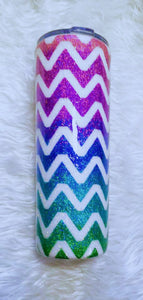 Chevron Ombre Holographic UV Glitter Tumbler - Pink, Purple, Blue, Teal, Green - Stainless Steel, Insulated, 20 oz - Mom Gift, Gift for Her