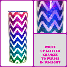 Load image into Gallery viewer, Chevron Ombre Holographic UV Glitter Tumbler - Pink, Purple, Blue, Teal, Green - Stainless Steel, Insulated, 20 oz - Mom Gift, Gift for Her