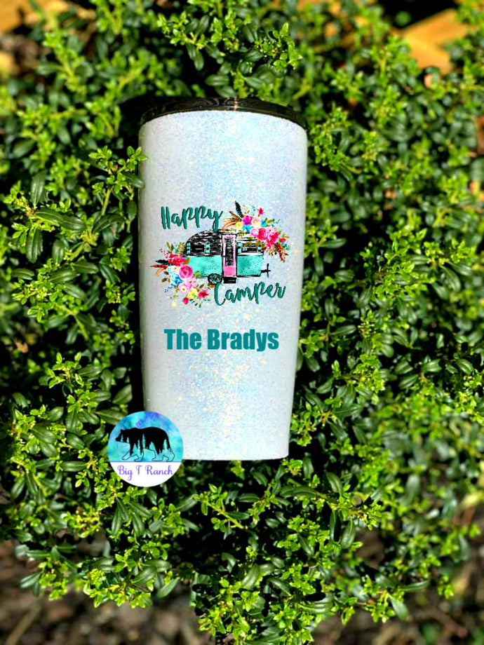 Happy Camper Personalized Glitter Tumbler - Camping Mug, RV gift, Gift for Mom, Couples Gift, Traveling, Boondocking - Insulated - 20 oz