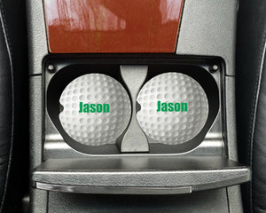 Golf Ball Personalized Car Coasters, Dad Gift, Golfer Car Coasters, Sandstone Car Coasters, Car Accessories, Custom, Father's Day, Set of 2