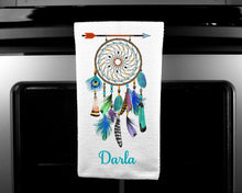 Load image into Gallery viewer, Dream Catcher Oven Mitt Pot Holder Towel Gift Set, Boho, Personalized, Custom, Gifts for Mom, Housewarming Gift.Wedding.Custom Kitchen Set