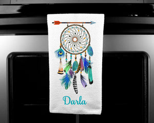 Dream Catcher Oven Mitt Pot Holder Towel Gift Set, Boho, Personalized, Custom, Gifts for Mom, Housewarming Gift.Wedding.Custom Kitchen Set