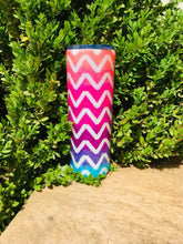 Load image into Gallery viewer, Chevron Neon Ombre Holographic UV Glitter Tumbler - Personalized, Neon Colors Orange Pink Purple Blue Teal - Stainless Steel, Insulated