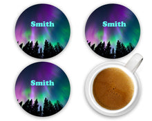 Load image into Gallery viewer, Northern Lights Aurora Borealis Coasters - Trees Night Sky - Personalized - Customized - Wedding Gift - Couples Custom Gift - Set of 4
