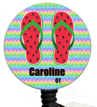 Load image into Gallery viewer, Stethoscope Badge Reel ID Tag Flip Flops, Nurse Stethoscope Tag, Teacher Badge Reel, Flip Flop Badge Reel, Nursing Student Gift, Watermelon