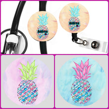 Load image into Gallery viewer, Stethoscope Badge Reel ID Tag Pineapple Personalized, Nurse Stethoscope Tag, Teacher Name Badge Reel, Badge Reel, Nursing Student Gift