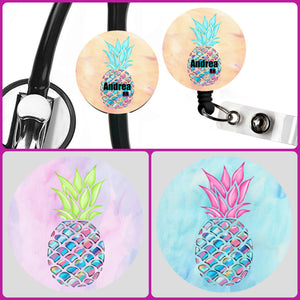 Stethoscope Badge Reel ID Tag Pineapple Personalized, Nurse Stethoscope Tag, Teacher Name Badge Reel, Badge Reel, Nursing Student Gift
