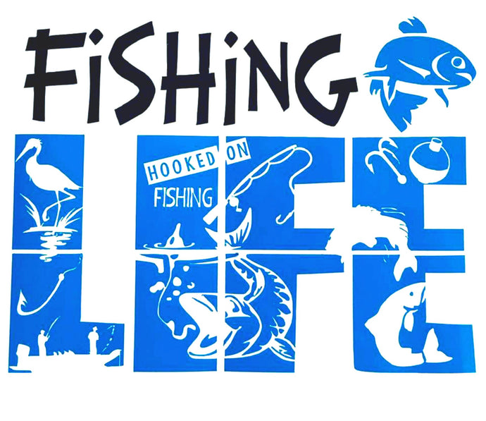 Fishing Life Camper Vinyl Decal Sticker, Fisherman, Custom Car Window, Laptop, Tumbler, Bumper - Choose Size and Colors - Gift for Dad