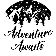 Load image into Gallery viewer, Adventure Awaits Travel RV Camping Vinyl Decal Sticker Custom Car Window Laptop Tumbler Water Bottle Bumper - You Choose Size and Color