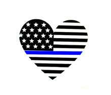 Load image into Gallery viewer, Thin blue line flag decal, police flag, police wife, blue lives matter, law enforcement, police sticker deputy wife police officer gift
