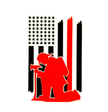 Load image into Gallery viewer, Praying Firefighter Decal, Thin red line Decal, firefighter kneeling decal, fire decal, red line decal, firefighter decal, firefighter