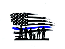 Load image into Gallery viewer, Thin blue line flag decal, police flag, police, deputy, blue lives matter, law enforcement, police sticker deputy wife police officer gift