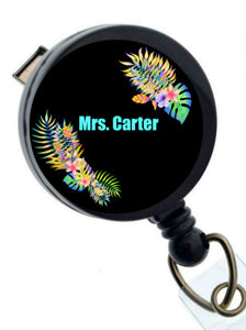 Teacher Name Badge Holder, Retractable Teacher ID Badge Reel, Tropical Flower Badge Holder for Teacher, ID Badge Holder, Back to School