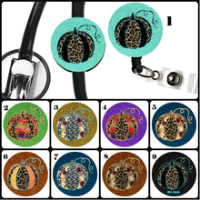 Load image into Gallery viewer, Back to School Pumpkin Teacher Badge Reel, Fall Stethoscope Badge Reel ID Tag Pumpkin, Nurse Stethoscope Tag, Nursing Student Gift, Autumn