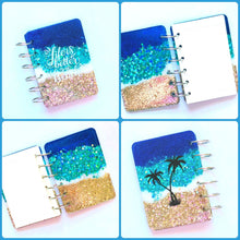Load image into Gallery viewer, Beach Glitter Notebook, Life is Better at the Beach, Palm Trees, Ocean, Handmade Notebook, Glitter Notebook, Notebook Cover, Epoxy Notebook