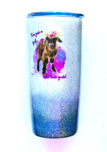 Just a Girl Who Loves Goats Holographic Glitter Tumbler, Nigerian Dwarf Goat, Dairy Goat, Goat Lover Gift, Insulated, 20 oz - FREE SHIPPING