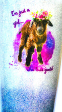 Load image into Gallery viewer, Just a Girl Who Loves Goats Holographic Glitter Tumbler, Nigerian Dwarf Goat, Dairy Goat, Goat Lover Gift, Insulated, 20 oz - FREE SHIPPING