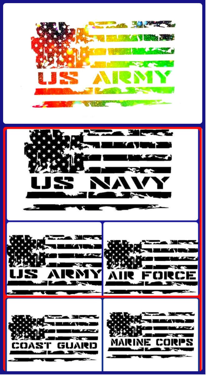 Distressed Flag Military Decal, Military Sticker, Navy, Air Force, Marines, Coast Guard, Army, Military Spouse, Military Wife, American Flag