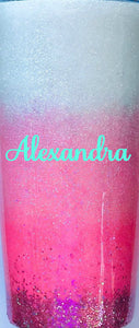Pink Ombre Holographic Glitter Tumbler Personalized, You Choose Name/Monogram, Vinyl Color, Custom Tumbler, Gift for Mom, Custom Gift, 20 oz