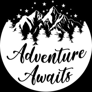 Adventure Awaits Travel RV Camping Vinyl Decal Sticker Custom Car Window Laptop Tumbler Water Bottle Bumper - You Choose Size and Color