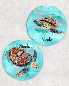 Sea Turtle Personalized Car Coasters Set of 2 - Customized - Beach, Ocean, Water - 2 Designs - Gift for Mom - Custom Gift - Auto Accessories