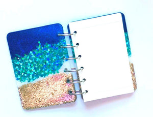 Beach Glitter Notebook, Life is Better at the Beach, Palm Trees, Ocean, Handmade Notebook, Glitter Notebook, Notebook Cover, Epoxy Notebook