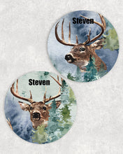 Load image into Gallery viewer, Deer Personalized Car Coasters Set of 2 - Customized - White Tail Deer, Hunting - 2 Designs - Gift for Dad - Custom Gift - Auto Accessories