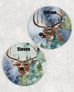 Deer Personalized Car Coasters Set of 2 - Customized - White Tail Deer, Hunting - 2 Designs - Gift for Dad - Custom Gift - Auto Accessories