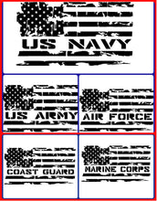 Load image into Gallery viewer, Distressed Flag Military Decal, Military Sticker, Navy, Air Force, Marines, Coast Guard, Army, Military Spouse, Military Wife, American Flag