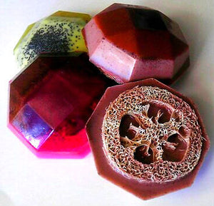 Soap - Exfoliating Loofah Soaps - Gift Set of 4 Soaps - FREE U.S. SHIPPING - Gift for Woman, Mom, Sister