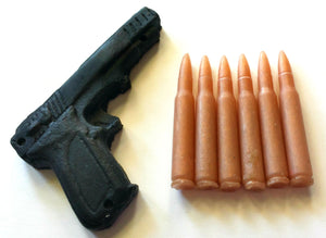 Gun and Bullets Soap Set - Gift for Dad - Black Coffee  scented - Free U.S. Shipping - Gift for Man - Party Favors, Guy Soap, Gift for Man