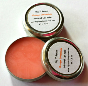 All Natural Lip Balm - Orange Dreamsicle- Tin - Gift for Teen Girls - Free U.S. Shipping
