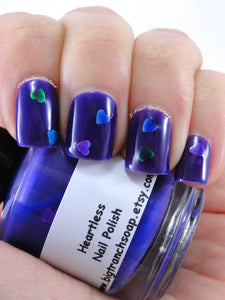 "Nail Polish - Thermal Nail Polish - Color Changing Nail Polish - FREE U.S. SHIPPING - ""Heartless"" - Blue to Purple"