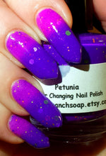 "Load image into Gallery viewer, Color Changing Nail Polish-Purple/Pink-""Petunia""-Temperature Changing - FREE U.S. SHIPPING - 0.5 oz Full Sized Bottle"