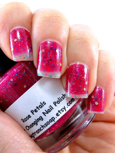 Color Changing Nail Polish- Glitter - Mood Nail Polish - Rose Petals - FREE U.S. SHIPPING - Nail Polish/Lacquer - 0.5 oz Full Sized Bottle