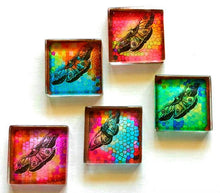 Load image into Gallery viewer, Glass Magnets - Butterflies - Set of 5 - 1 Inch Glass Squares - Free U.S. Shipping - Gift for Woman, Mom, Sister Gift